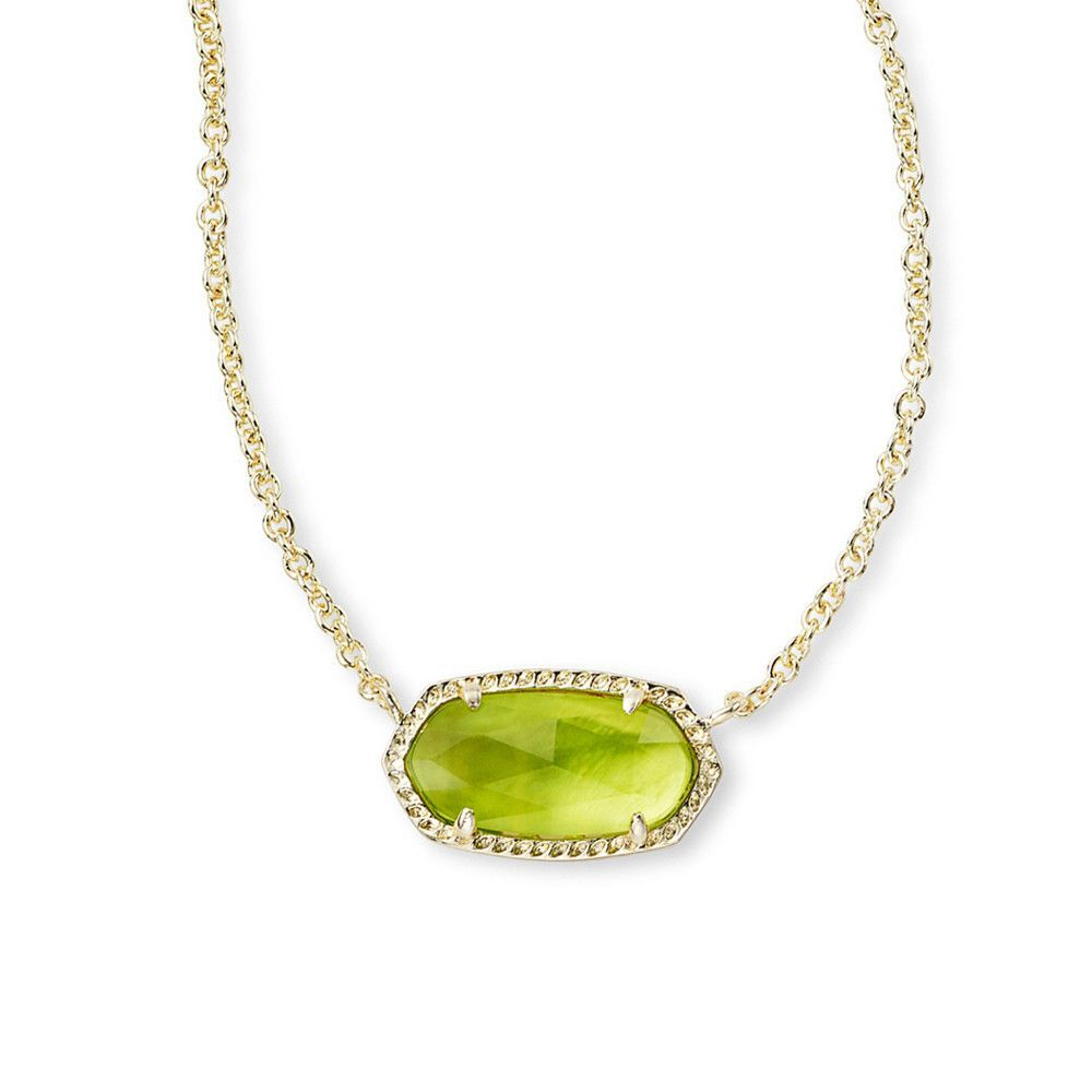 Kendra scott elisa gold pendant necklace in peridot illusion