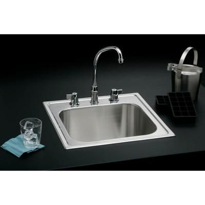Elkay Signature Top Mount 20 In 3 Hole Stainless Steel Utility