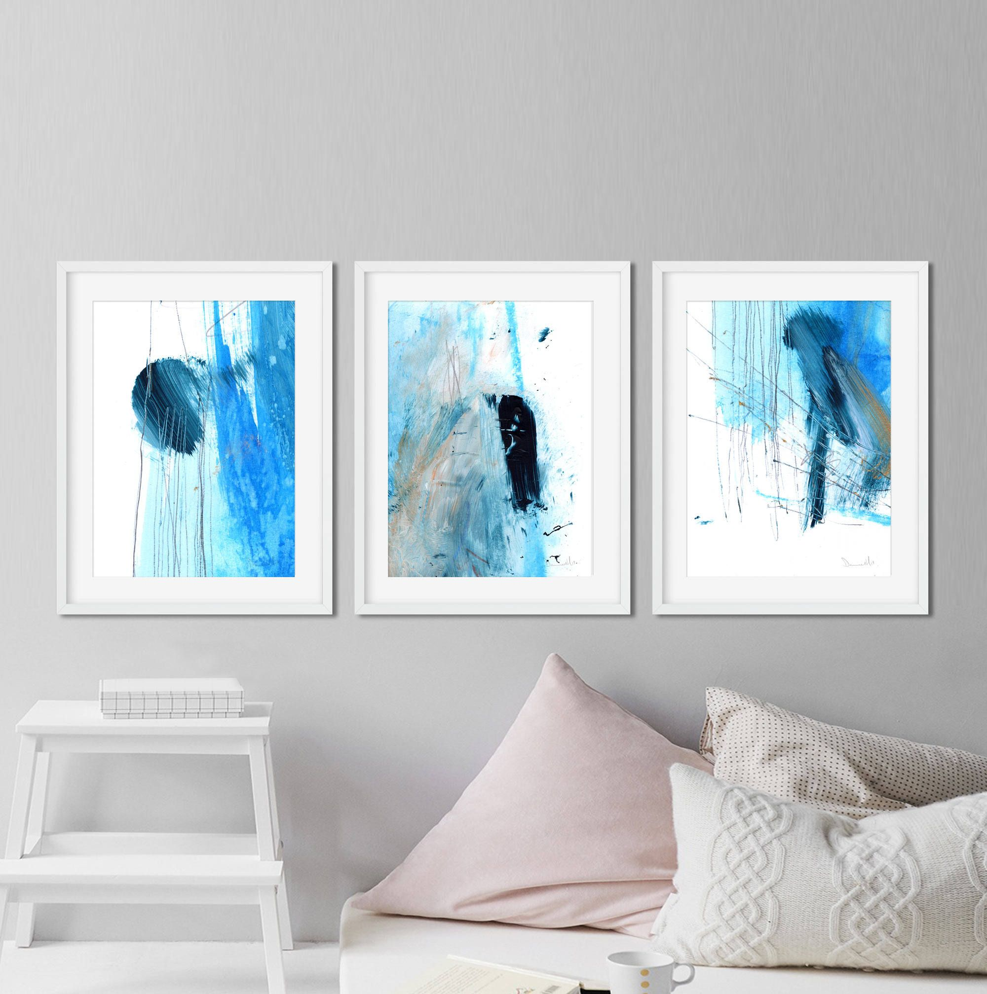 Set Of 3 Prints Abstract Art Print Set 3 Abstract Prints Blue And White Art Printable Abstract Insta Art Print Set Navy Blue Wall Art Instant Download Art