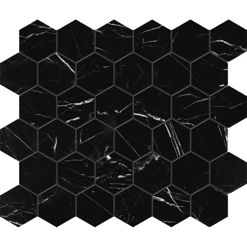 Black Honed Hexagon Marble Mosaics 10 3 8 12 Available At Tile Co Tilecodist Com Marble Mosaic Marble Wall Tiles Contemporary Tile