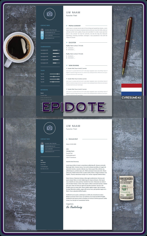 aanpasbaar taal: Nederlands motivatie brief sjabloon direct te downloaden Professionele cv sjabloon