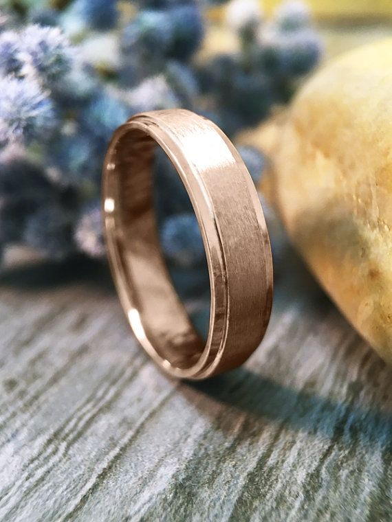 Men S Wedding Band Matte Gold Center Polished Rim Etsy Engagement Rings For Men Classic Wedding Rings Wedding Rings Vintage