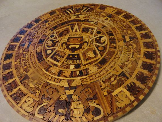 Sale Vintage Aztec Calendar Marquetry Wood Inlay By Backofbeyond