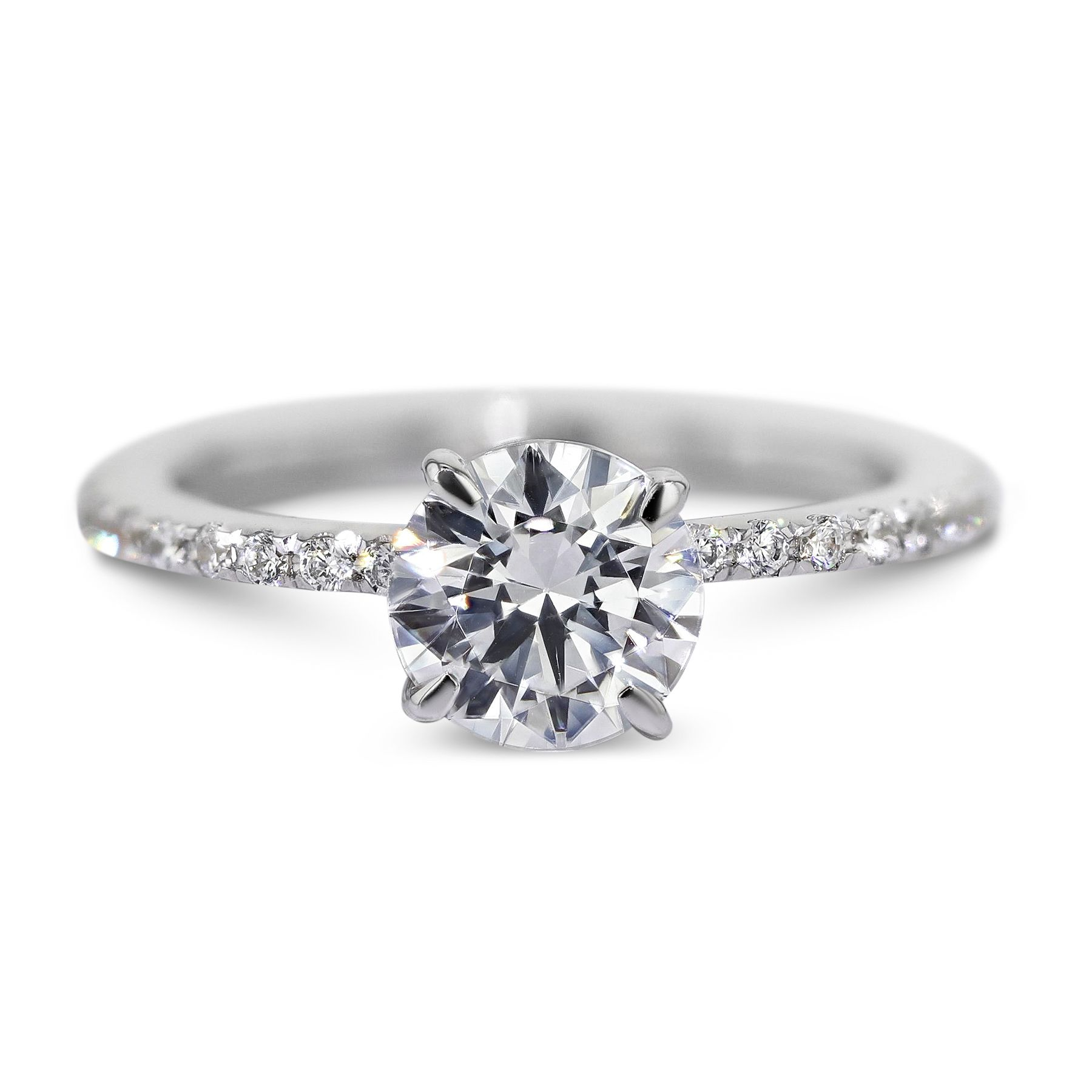 Pave set diamonds adorn the sides of this engagement ring A 1 59