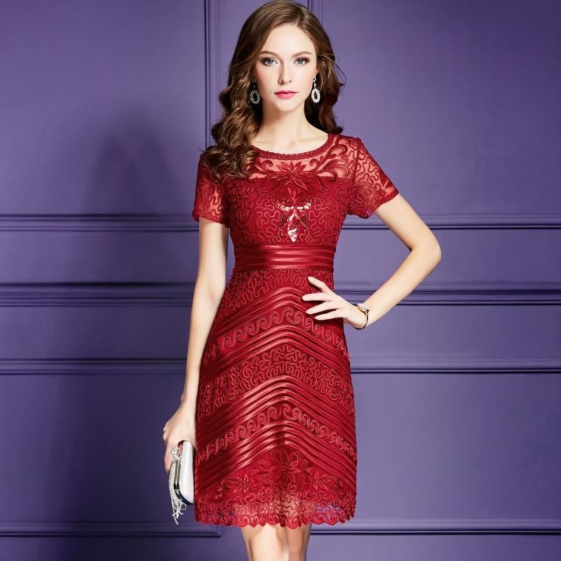 b579c23af2 New Women Mesh Embroidery Dress Elegant Short Sleeve A-Line Dresses – Ozzy  Bella All Great Apparel