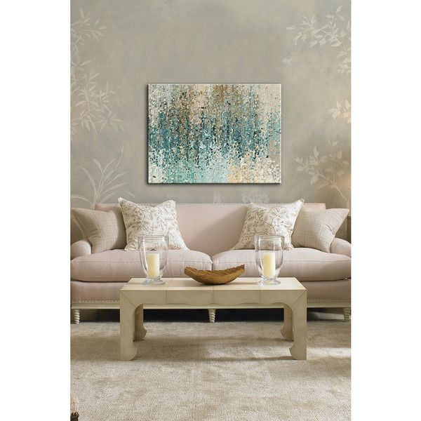 "Decorate your living room or office with this abstract canvas print by artist Mark Lawrence. ""Revealed"" adds a soft touch to contemporary spaces with shades of blue and neutrals lending a calm air to"