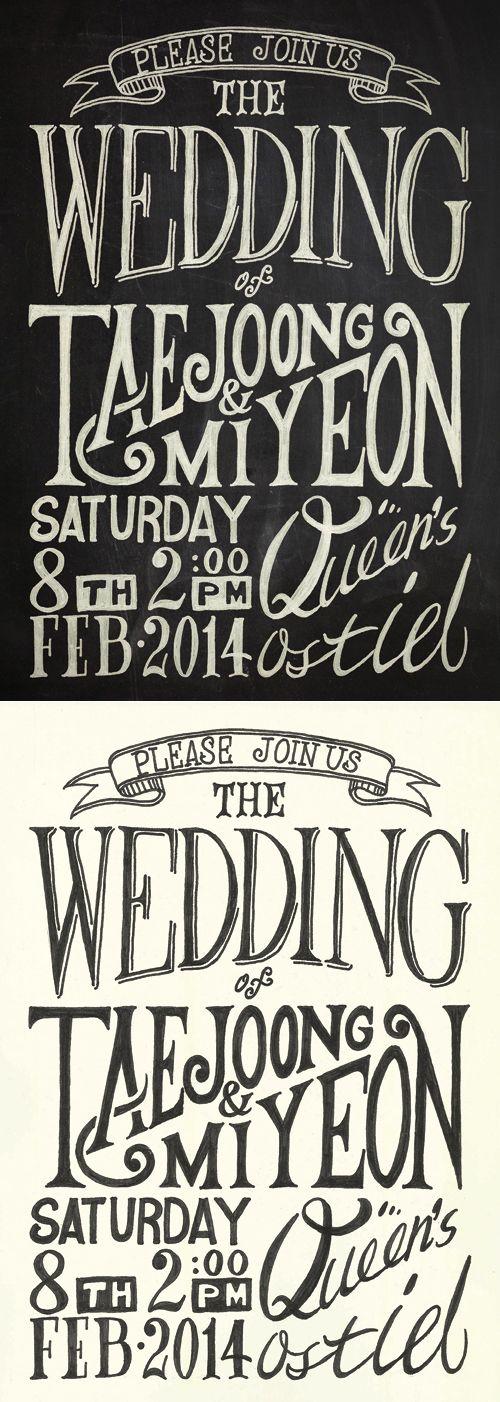 MY&TJ s wedding card hand lettering by Teejay Kim weddingcard