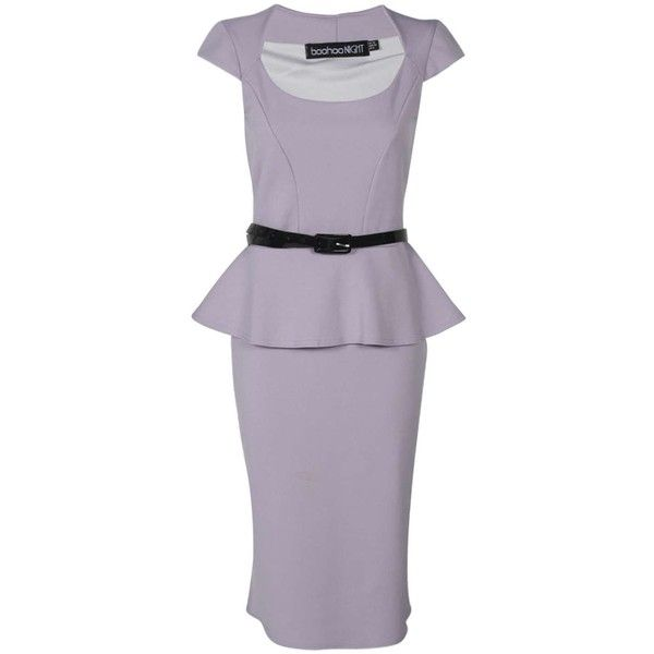 Keeley Peplum Belted Midi Dress (110 THB) ❤ liked on Polyvore featuring dresses, calf length dresses, women dresses, day dresses, peplum midi dress and peplum dress