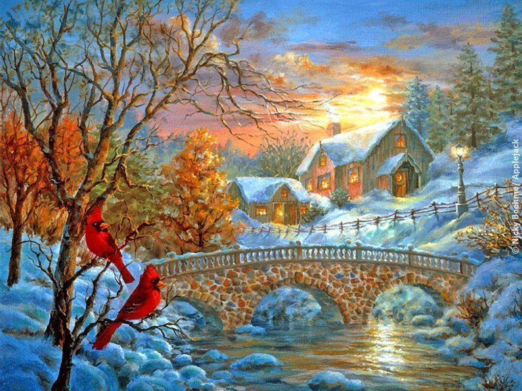 орехи постер с зимним пейзажем книжной полке