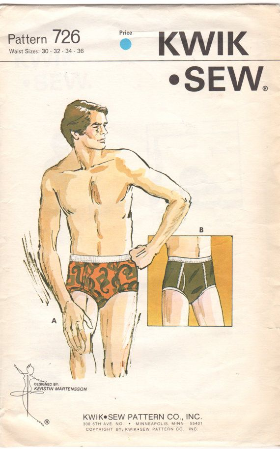 Kwik Sew 726 1970s Mens Designer Briefs Pattern Adult Teen Jockey ...
