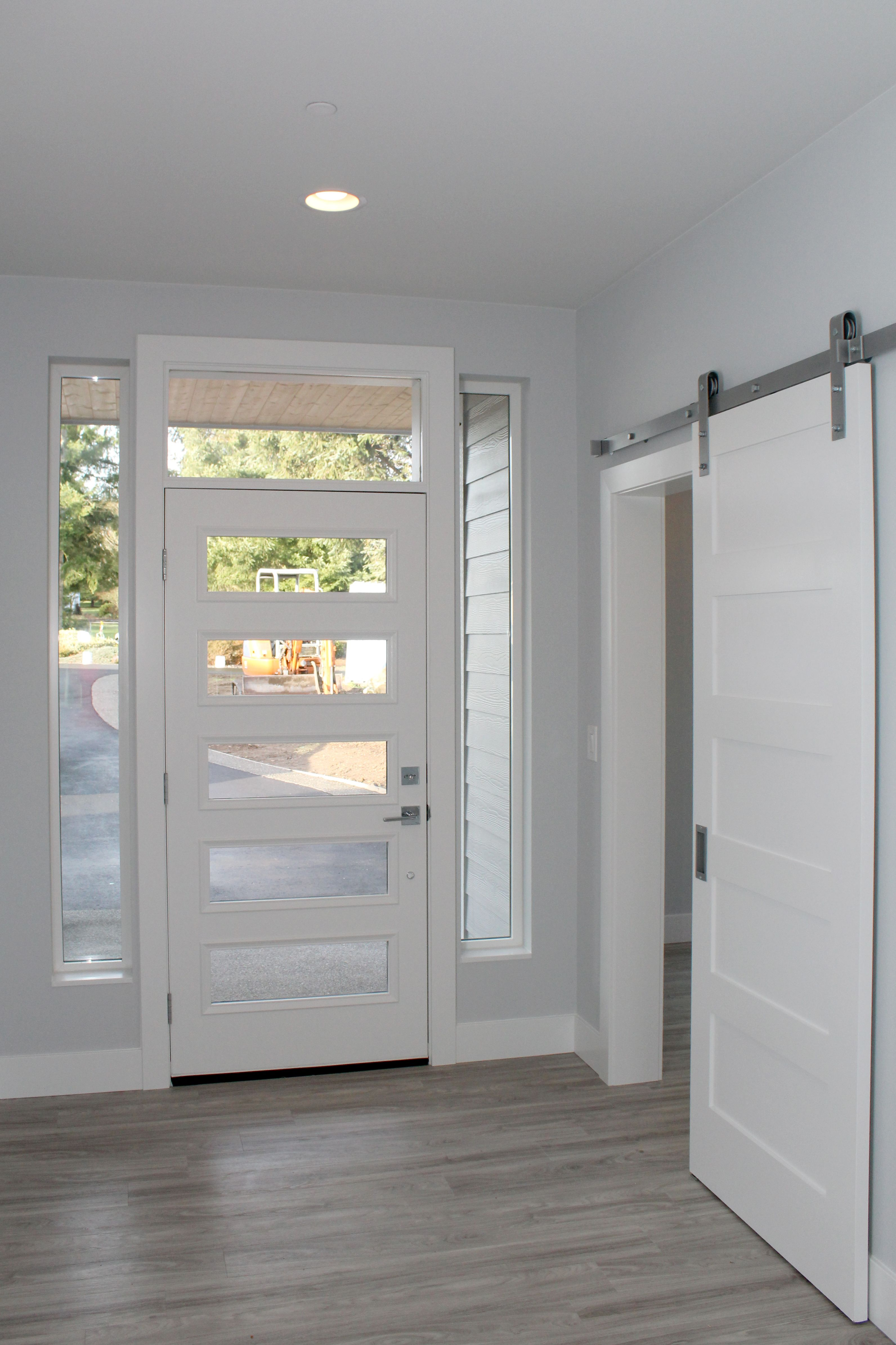 Shaker Window Trim Entry Door Coded 2585 With Sidelights And Toplight Barn Doors