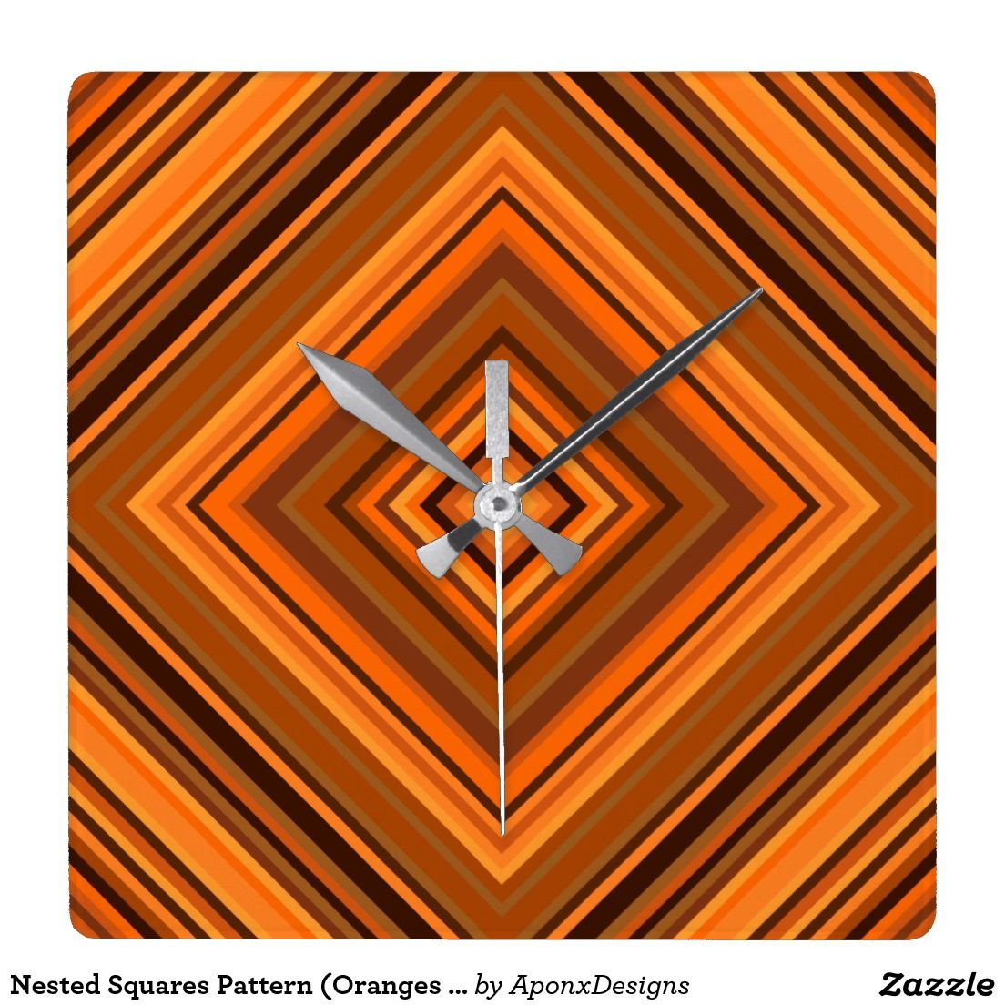 Clock With Nested Squares Pattern Colored With Oranges and Browns