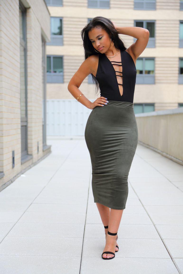 "ecstasymodels: ""Khaki bodysuit from Mystique Boutique, skirt from ..."