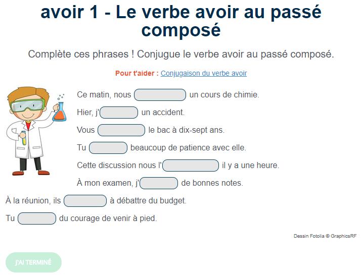 Exercice De Conjugaison Le Verbe Avoir Au Passe Compose Passe Compose Verbe Avoir Exercice De Francais Cm1