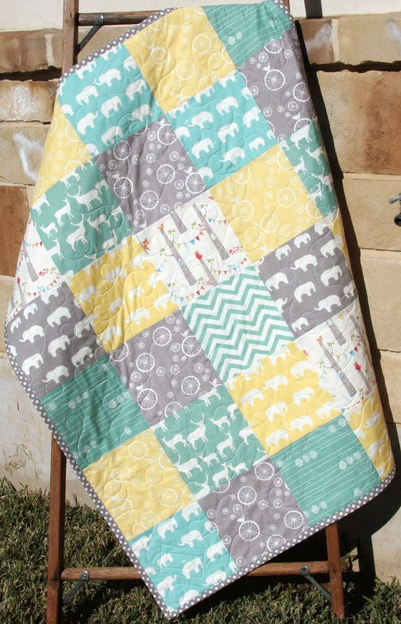 Baby Quilt, Organic Gender Neutral, Yellow Aqua Pool Teal Blue ... : neutral baby quilt - Adamdwight.com