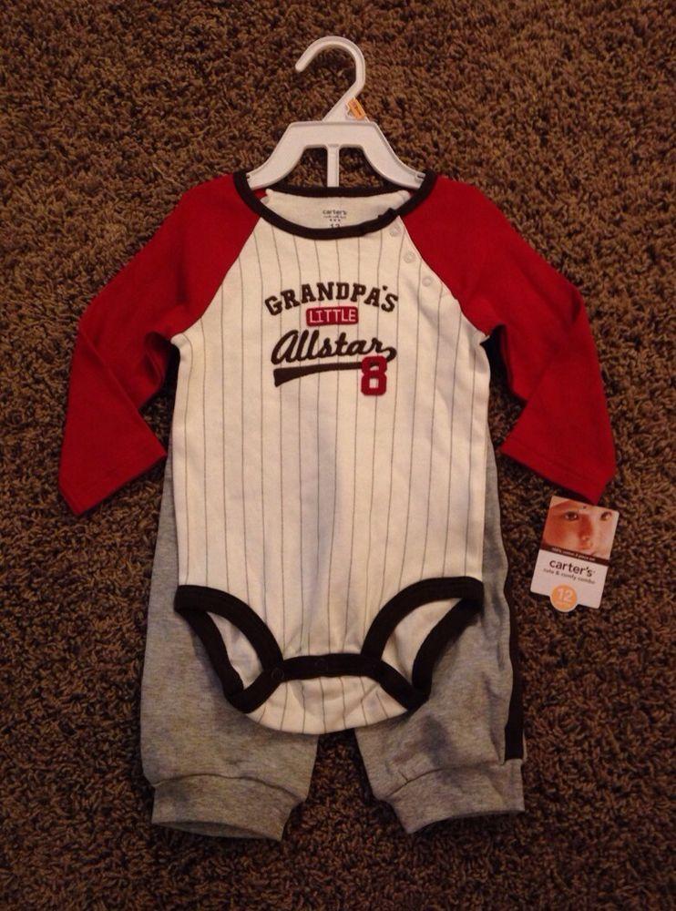 """NWT! Carter's """"Grandpa's Little AllStar"""" Baseball Baby"""