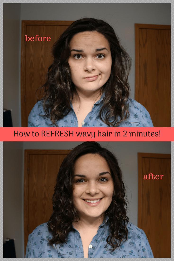 How To Refresh Wavy Hair In 2 Minutes All Wavy Hair Hair Plopping Wavey Hair Wavy Hair Care