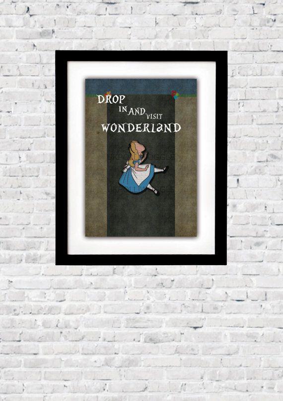 Alice In Wonderland, visit wonderland, disney, digital art, minimalist,inspirational movie quote, wall decor, typography,Modern, Classic
