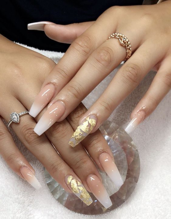 34 Natural Cute Light Nails Design For Lady In Fall And Winter Page 26 Of 34 With Images Gold Acrylic Nails Cute Acrylic Nails Coffin Nails Designs