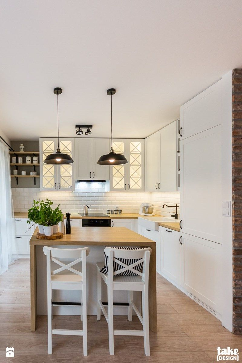 Odrobina Skndynawii Realizacja Srednia Otwarta Kuchnia W Ksztalcie Litery L Z Wyspa Z Home Decor Kitchen Open Plan Kitchen Living Room House Design Kitchen