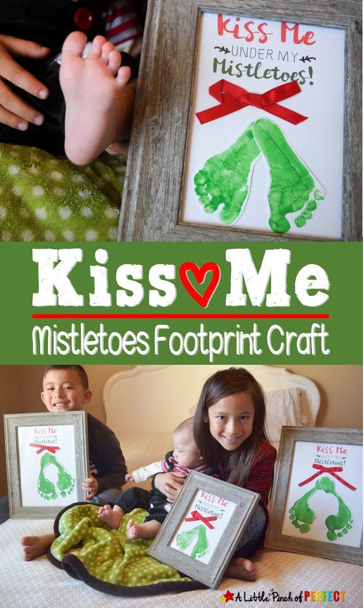 Kiss Me Under My Mistletoe Footprint Craft and Free Template - #mistletoesfootprintcraft