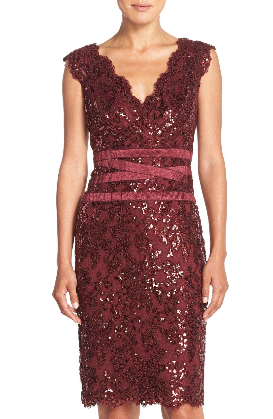 6e313f04006c8 Free shipping and returns on Tadashi Shoji Sequin Lace Sheath Dress (Regular    Petite) at Nordstrom.com. Luminous sequins and metallic threads highlight  the ...