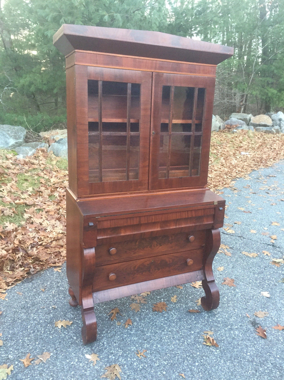 Antique Secretary Desk Etsy >> Antique Empire Mahogany Secretary Desk Bookcase Victorian Mahogany