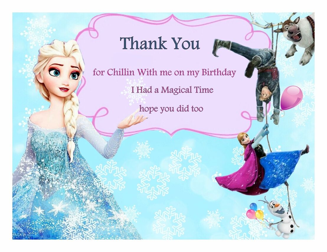 free frozen birthday thank you cards