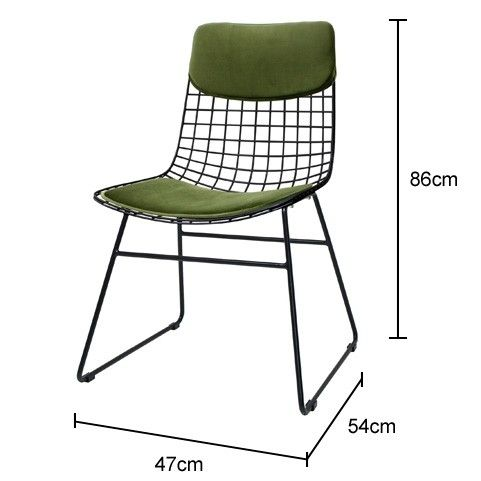 Padded Metal Wire Chair In Black And Green