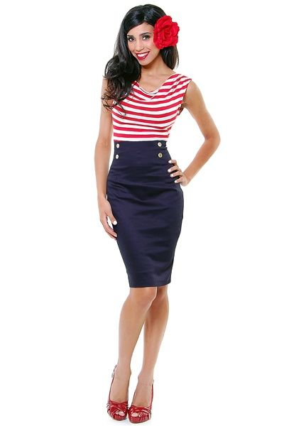 60s Pinup Red Striped Hello Sailor Nautical Wiggle Dress