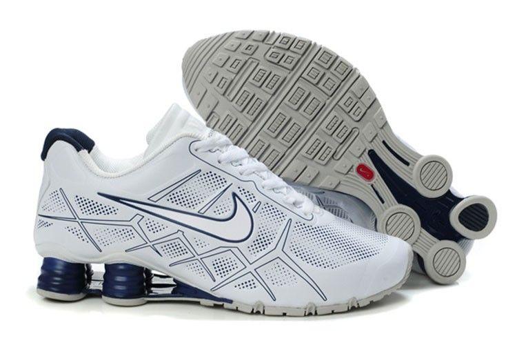 Nike Shox Turbo+ 12 Leder Männer Schuhe Weiß Blau