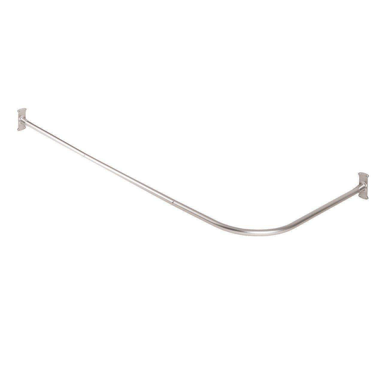 "NeverRust Aluminum /""L/"" Shaped Corner Shower Curtain Rod, Zenna Home 33941BN"