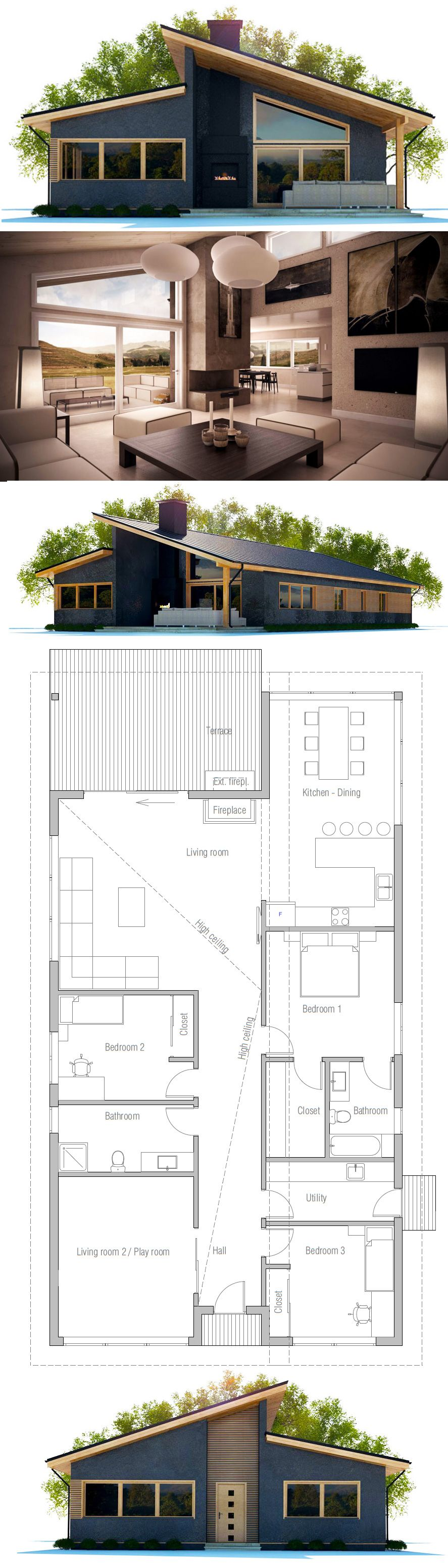 Changing Front Design Of House Part - 31: Container House - Floor Plan: 3 Bdrm Good For Narrow Lot . Change Front  Playroom To Bdrm, Add Bdrm 2 To Living Room, Enclosedu2026