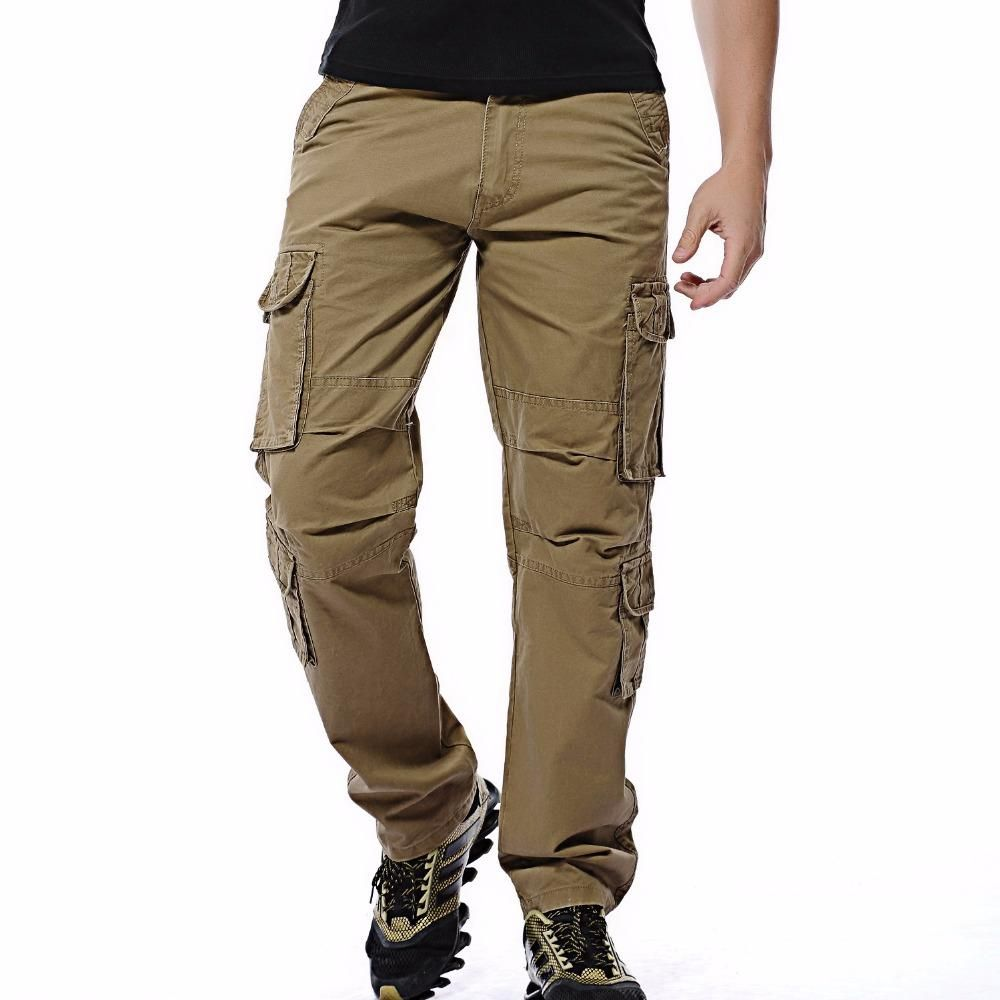 Mens Loose Military Overalls Pants Outdoor Cargo Straight Leg Casual Trousers sz