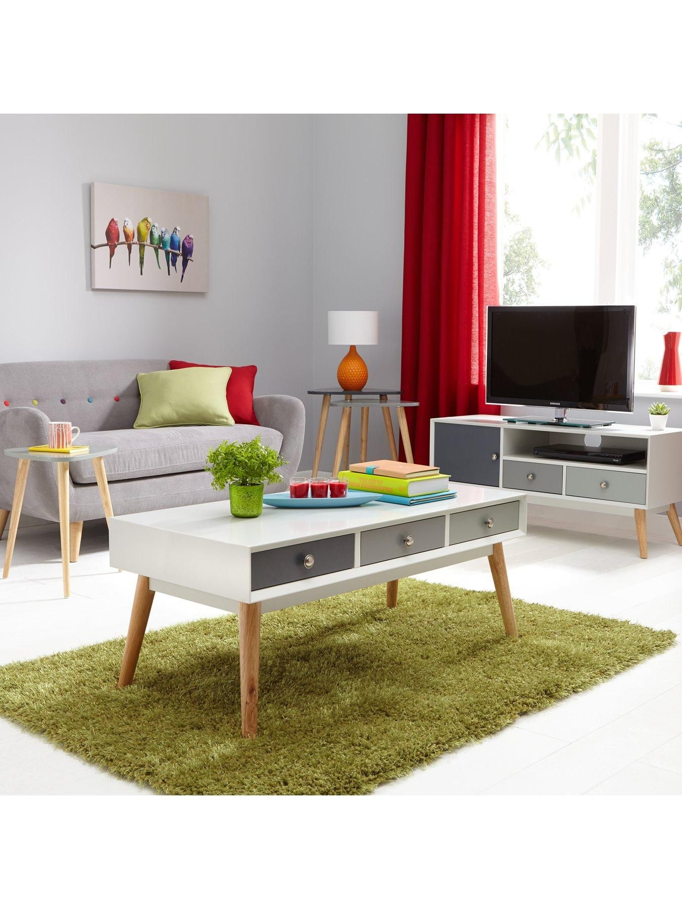Ideal Home Orla Retro Storage Coffee Table Tv Unit Retro Coffee