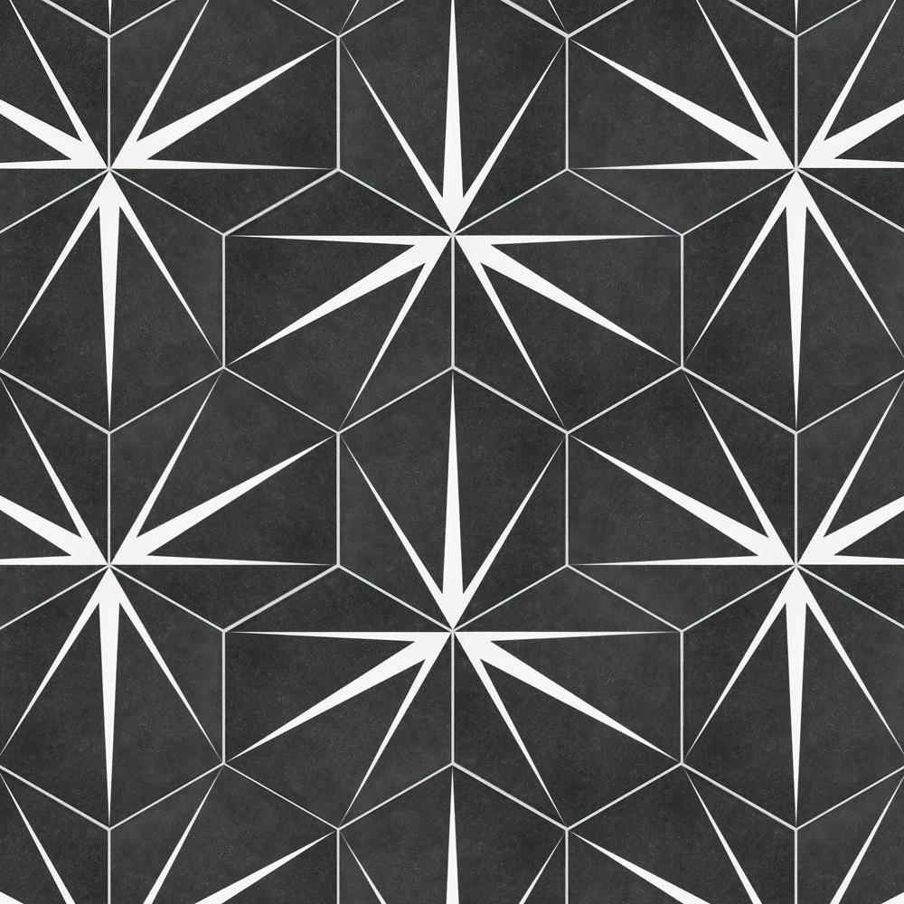 merola tile trident hex nero encaustic