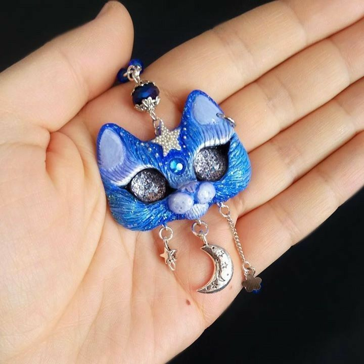 Starry Sky with Star,Moon and Flower Cat Necklace