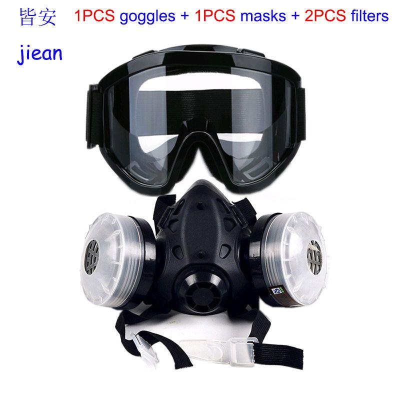 Jiean 9578 Gözlük Boyama Karşı Solunum Gaz Maskesi Silikon Yüksek