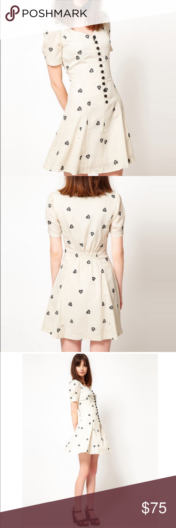 Nishe sweetheart tea dress with heart embroidery nwt cream color