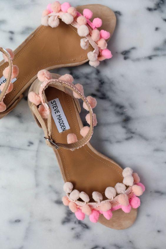 colored pom pom pink sandals summer 2016 steve madden