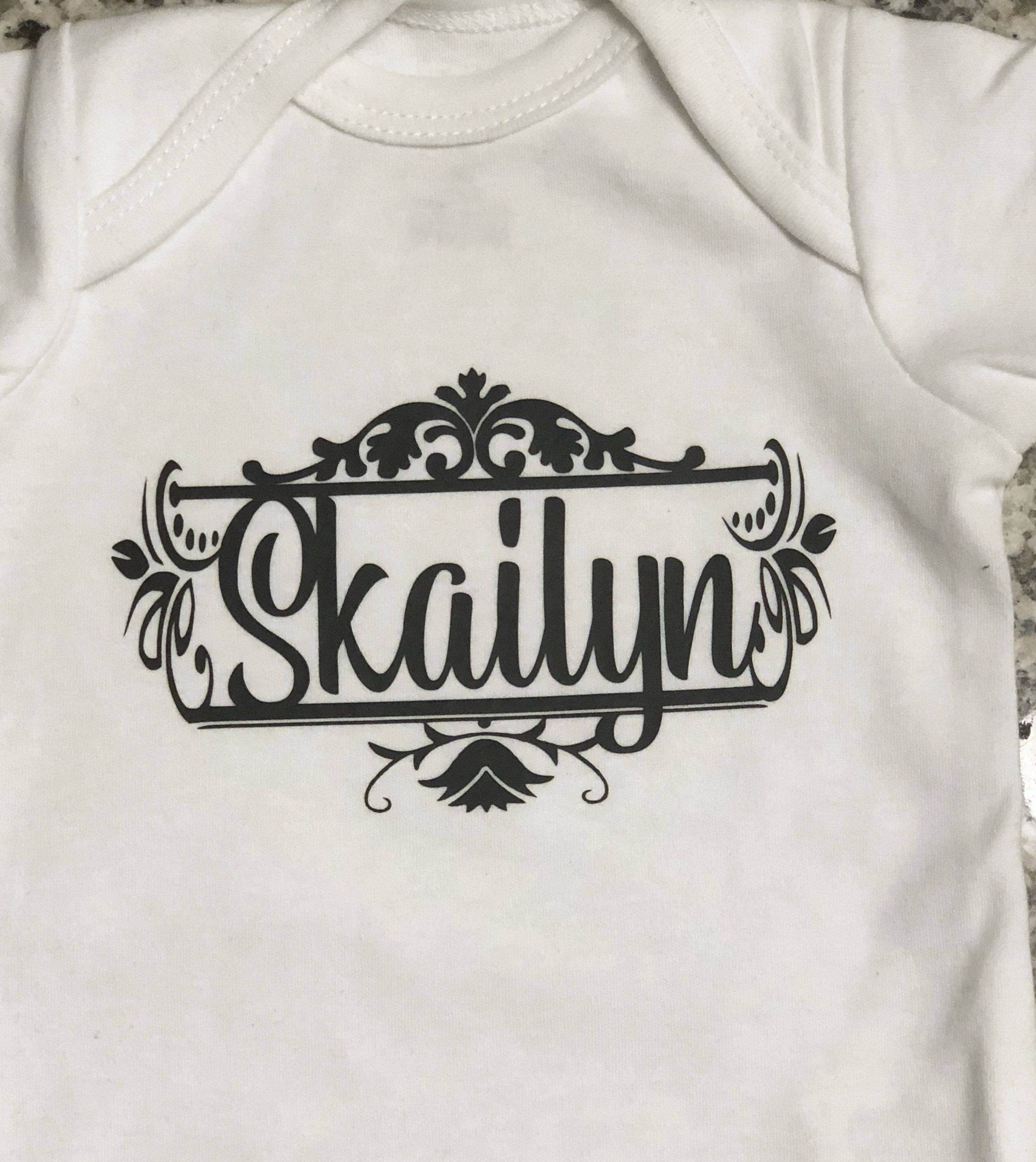 d5013075cfa5 Custom baby onesie clean vintage design can be personalized
