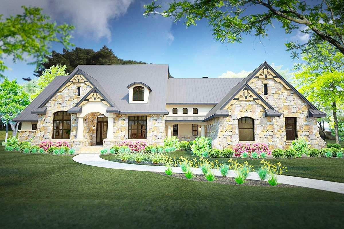 Plan 16892wg Stone Clad House Plan With 2 Bonus Rooms Tuscan House Plans House Plans One Story Dream House Plans
