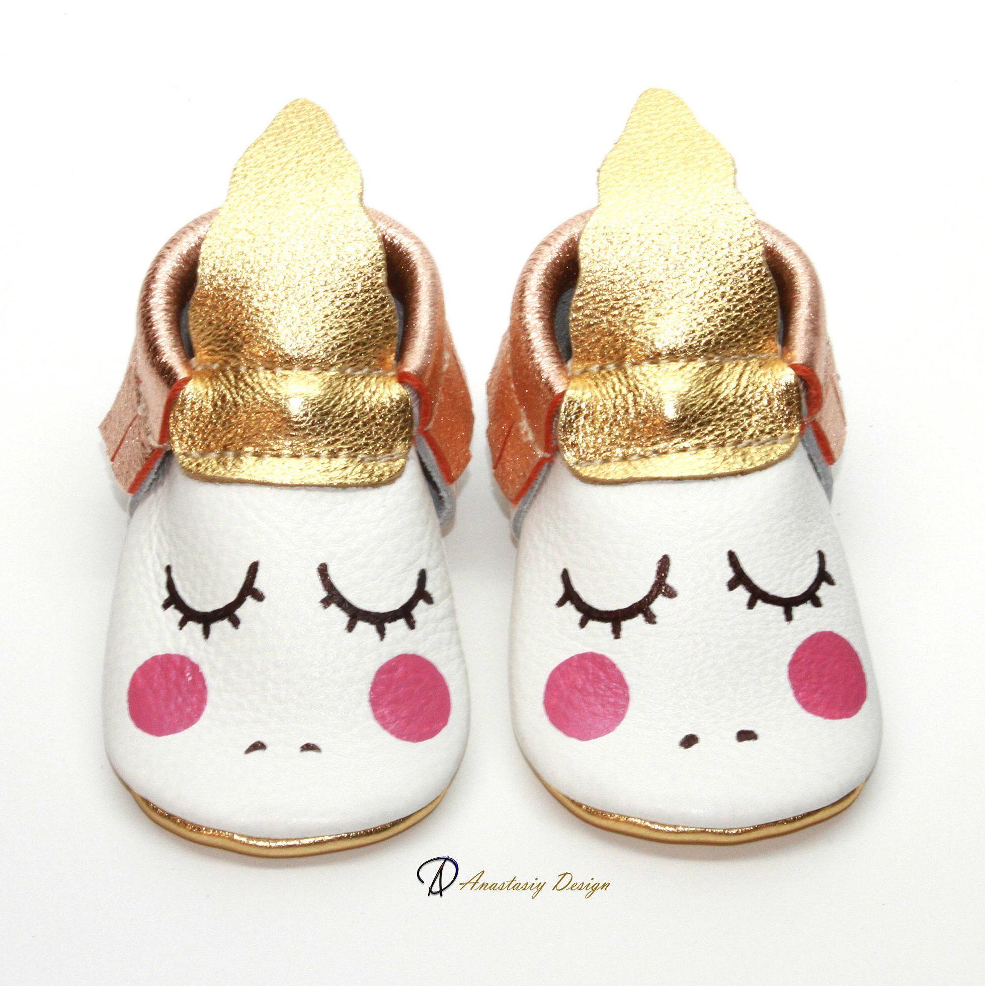 Unicorn Baby Moccasins Rose Gold Fringe Leather Baby Moccasins