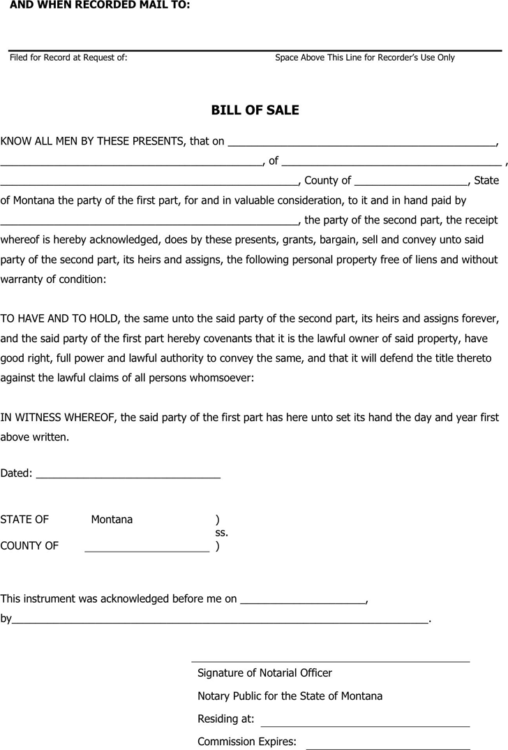Montana Personal Property Bill Of Sale Form Download The Free Printable Basic Bill Of Sale Blank Form Template Or Wa Bill Of Sale Template Bills Bill Template