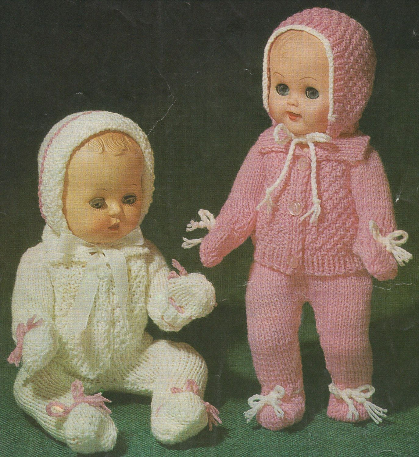 PDF Dolls Clothes Knitting Pattern : 10, 12, 14 & 16 inch baby dolly ...