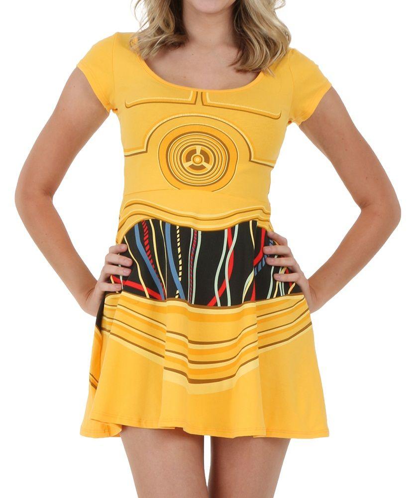 Star Wars C3PO Costume Skater Dress  7dd1365e82a4