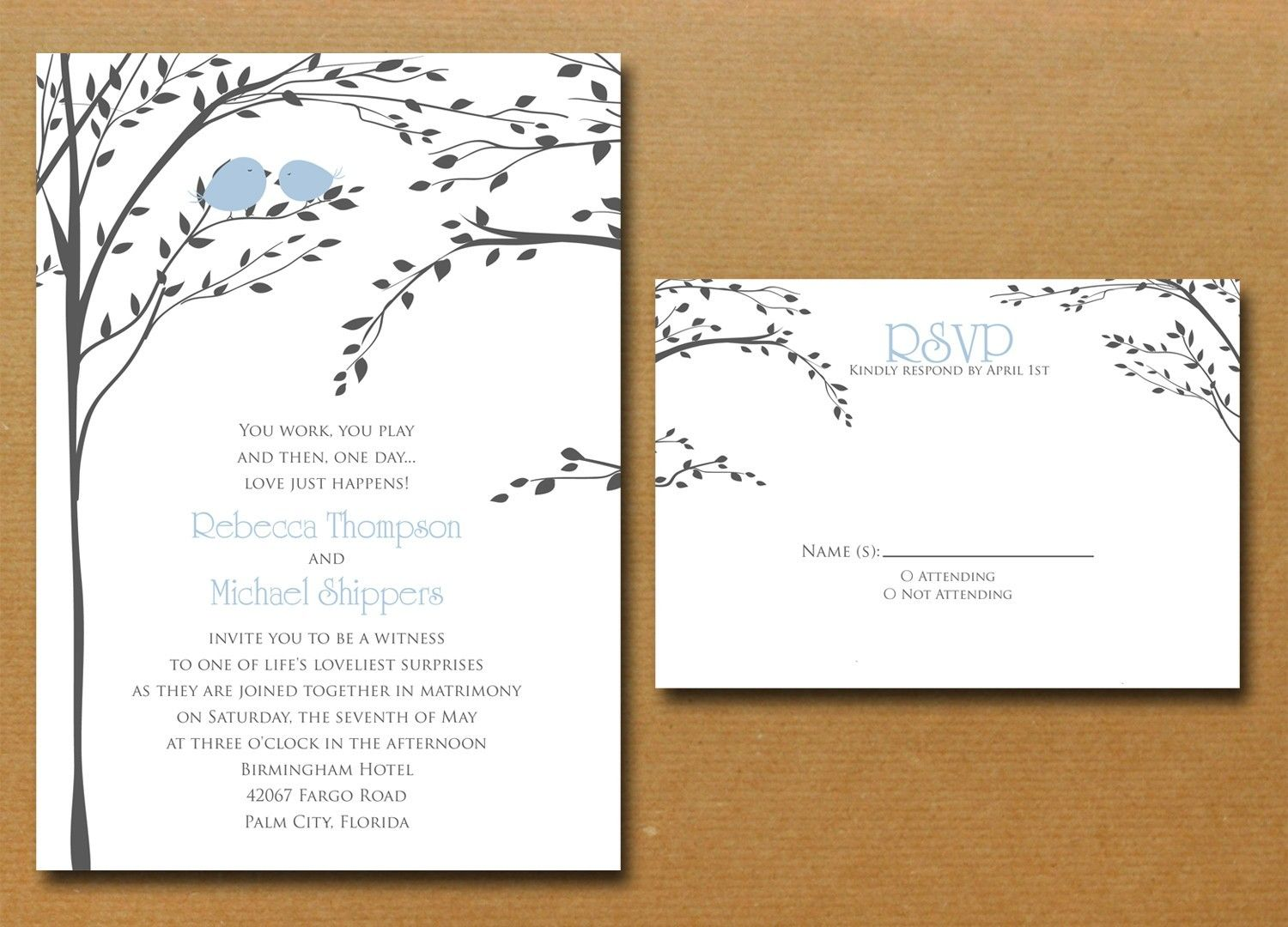 Merveilleux Love Birds In A Tree Wedding Invitation By Nmiphotocreations, $3.00