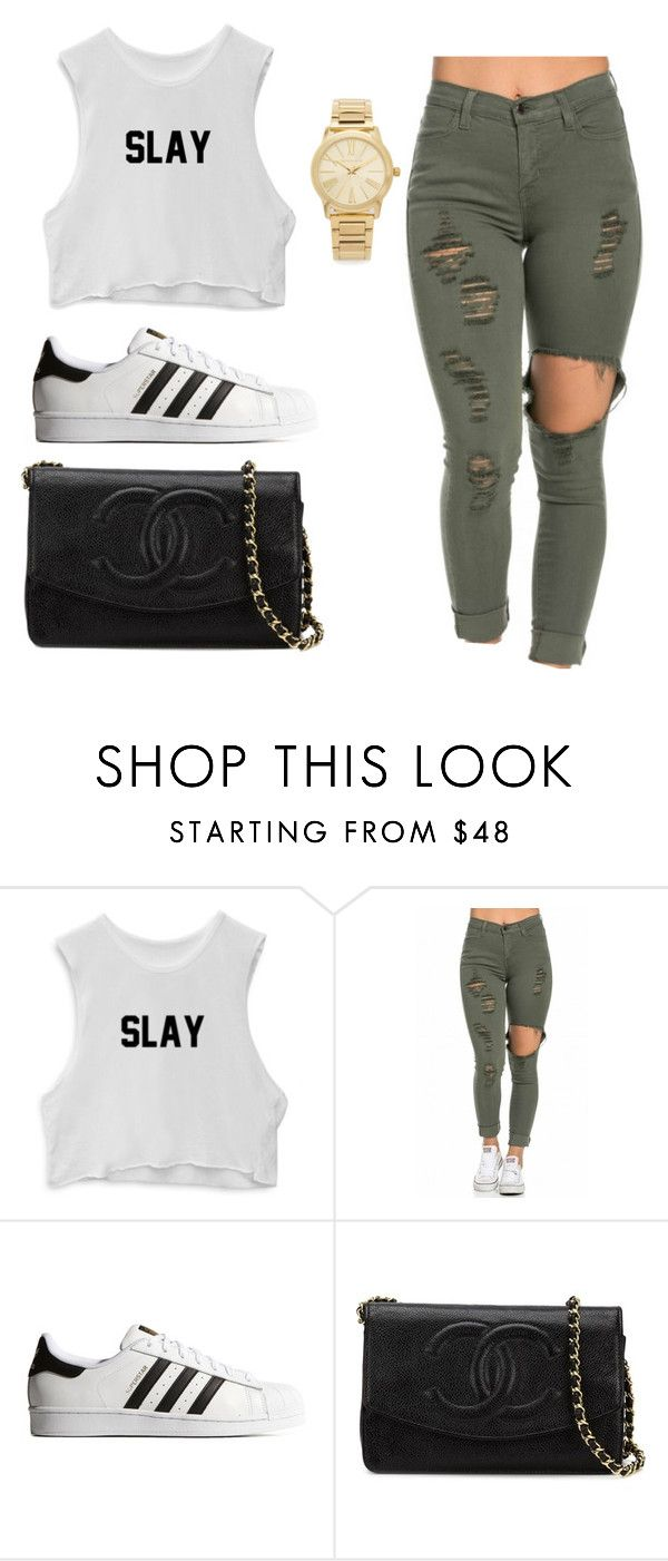 """Slay"" by trillparadise on Polyvore featuring adidas Originals, Chanel and Michael Kors"