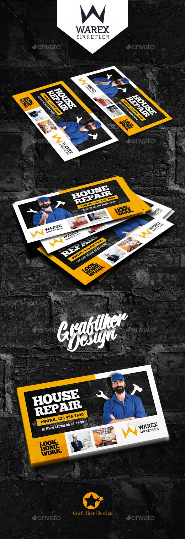 House Repair Business Card Templates | Tarjetas de presentación ...