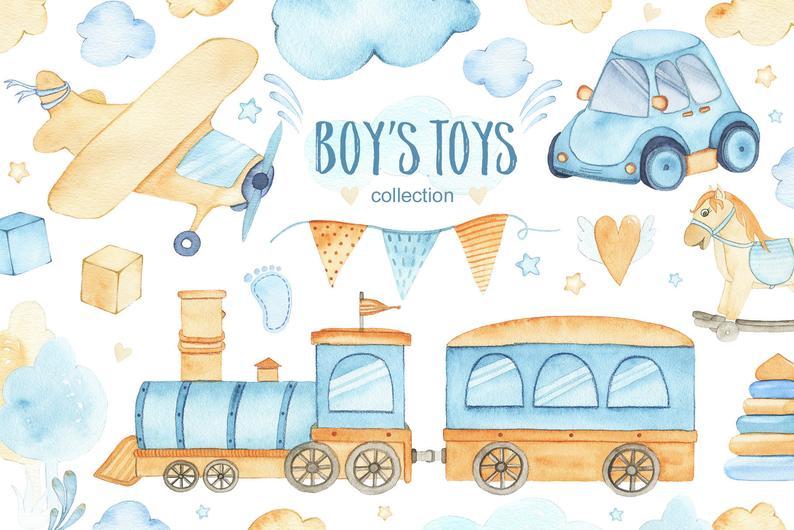 Baby Boy Toys Watercolor Clipart It S A Boy Clip Art Etsy Aquarela Papel De Parede Fofinhos Bonecas Fofas